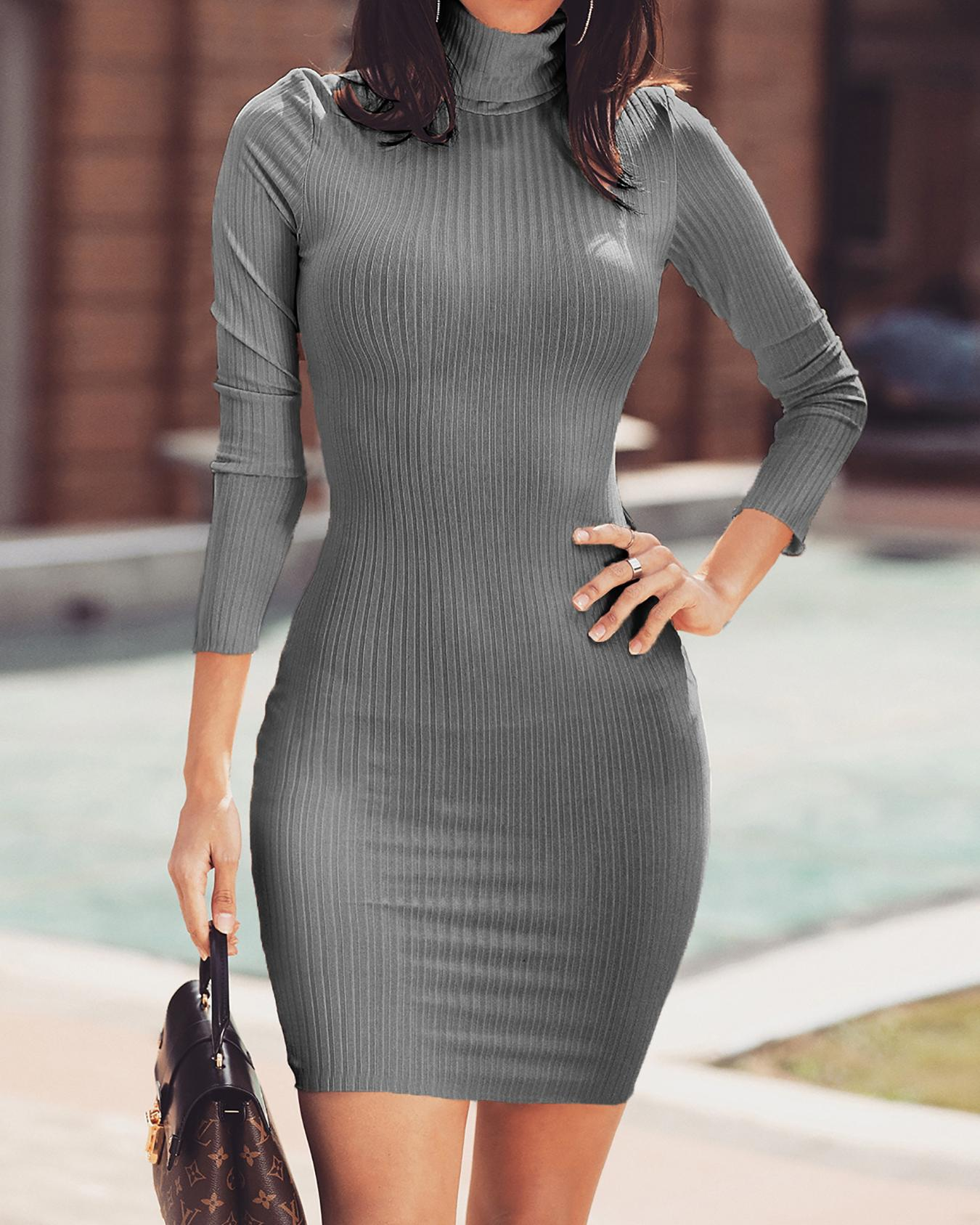 Solid High Neck Long Sleeve Bodycon Dress фото