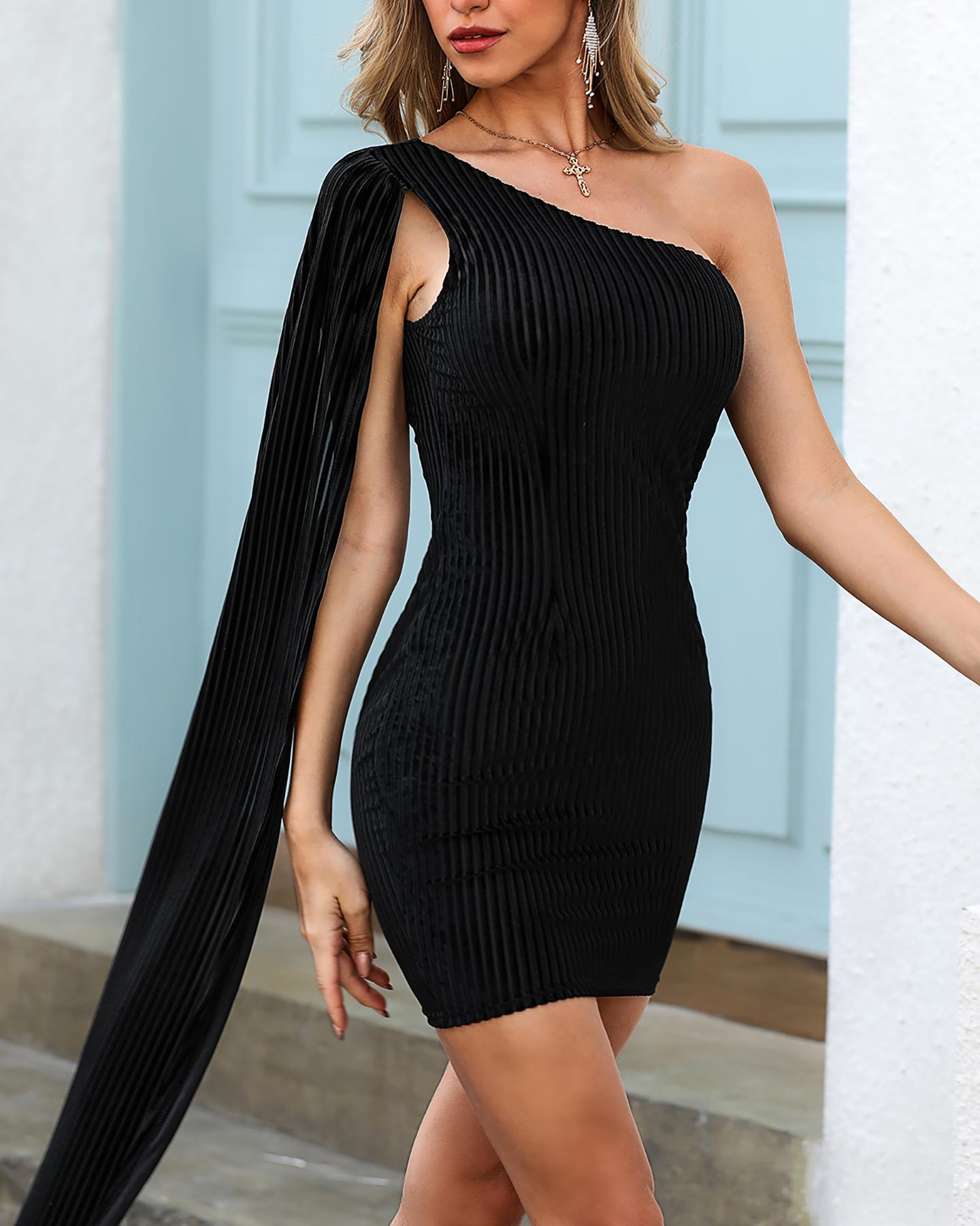 Glitter One Shoulder Cape Striped Bodycon Dress фото