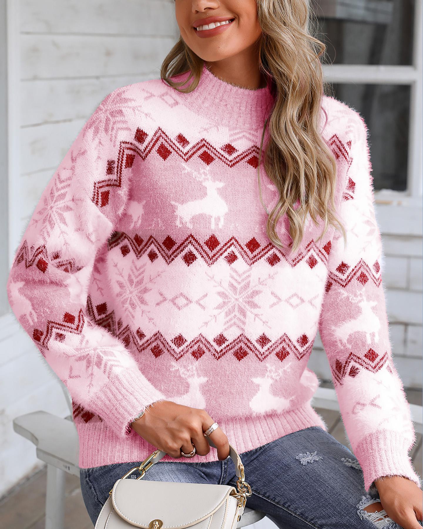 joyshoetique / Christmas Fluffy Reindeer Print Knit Ugly Sweater