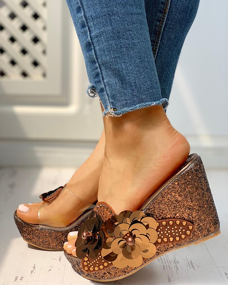 chicme / Transparent Bead Studded Platform Wedge Sandals