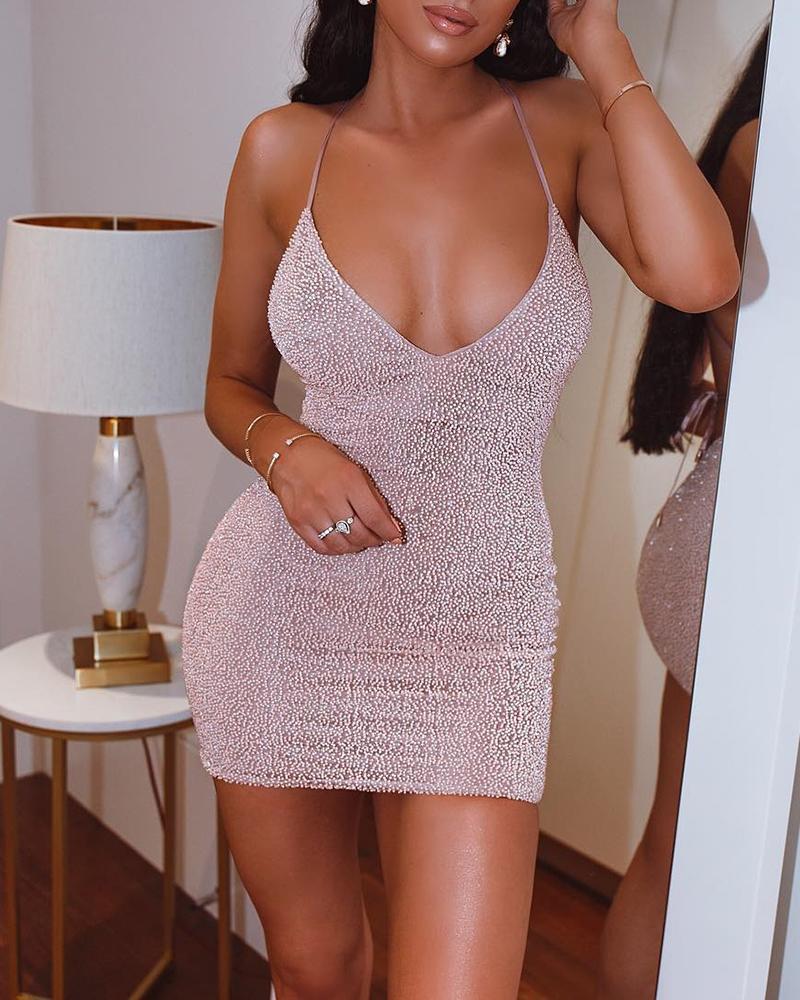 ivrose / Glitter Spaghetti Strap Hot Stamping Bodycon Dress