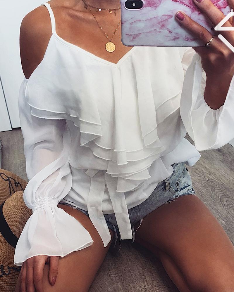 boutiquefeel / Babados frio ombro manga blusa de sino