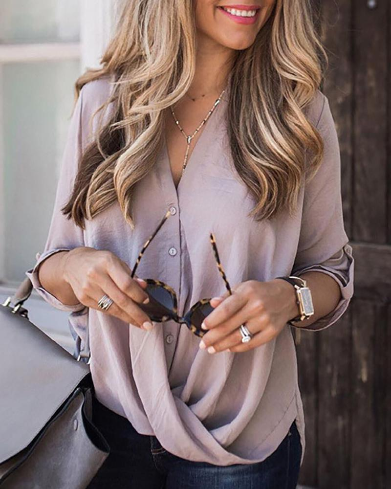 V Neck Draped Front Solid Blouse, Purple