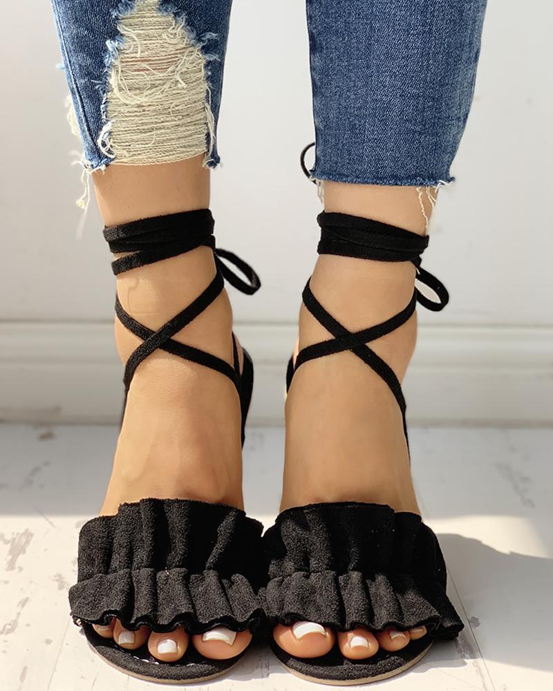 Suede Ruched Frill Hem Flat Sandals фото