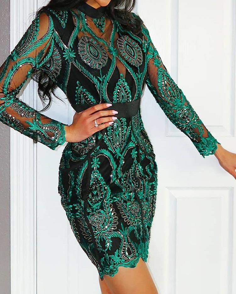 Sheer Mesh Lace Insert Party Dress, Green
