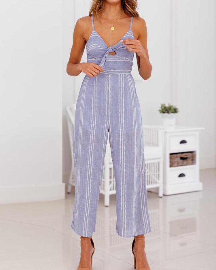 Striped Bowknot Cutout Front Jumpsuit фото