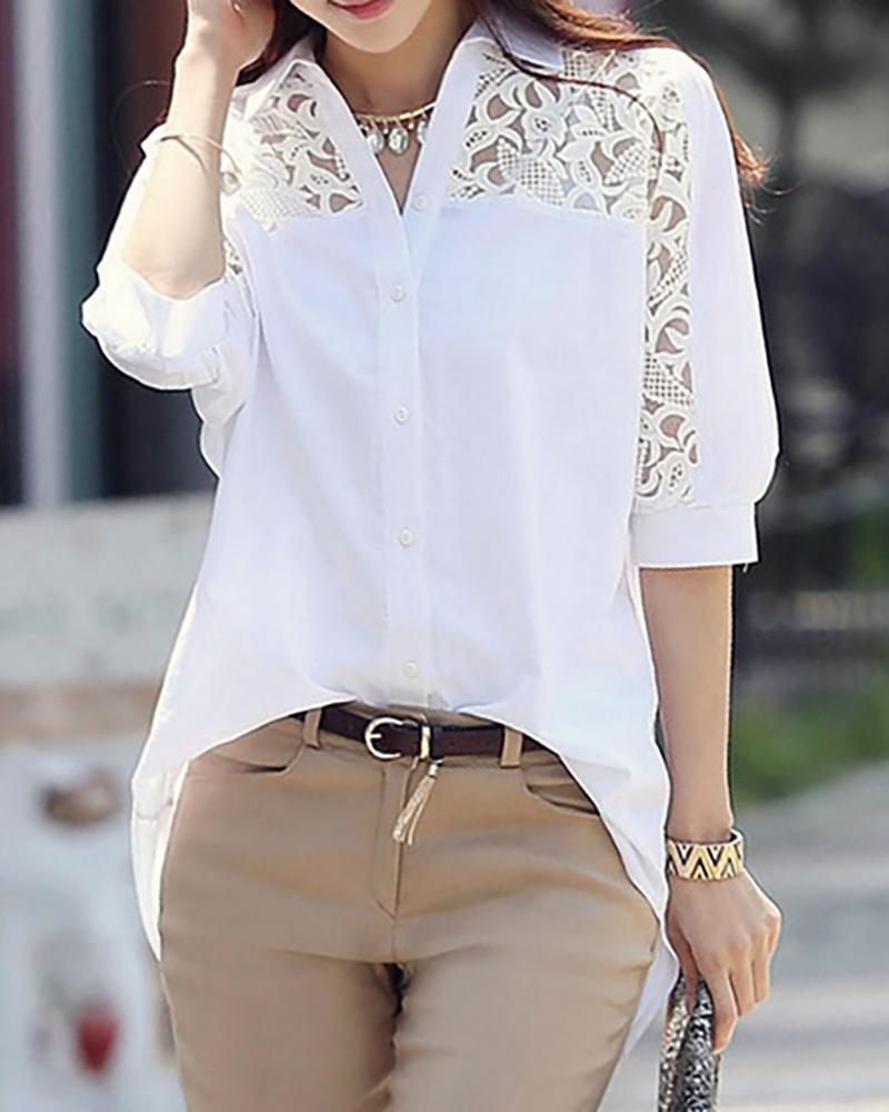 Lace Trim Long Sleeve Casual Shirt фото