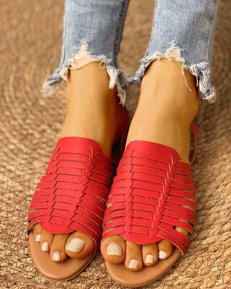 Braided Design Peep Toe Flat Sandals фото