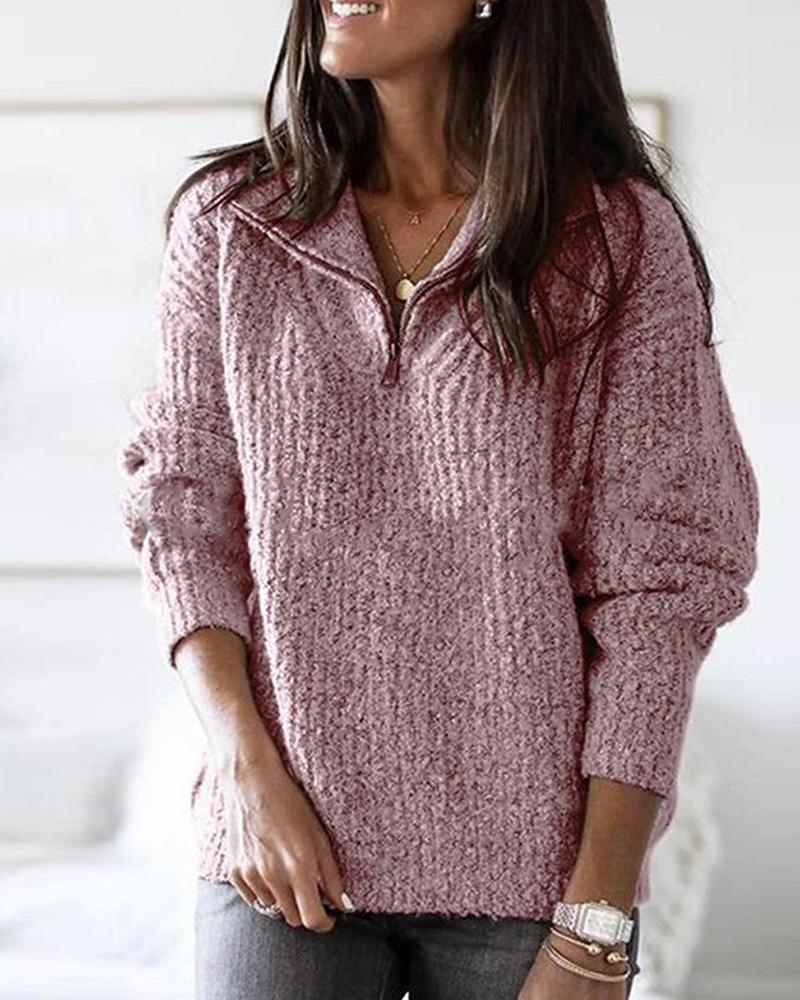 Zip Neck Long Sleeve Sweater фото