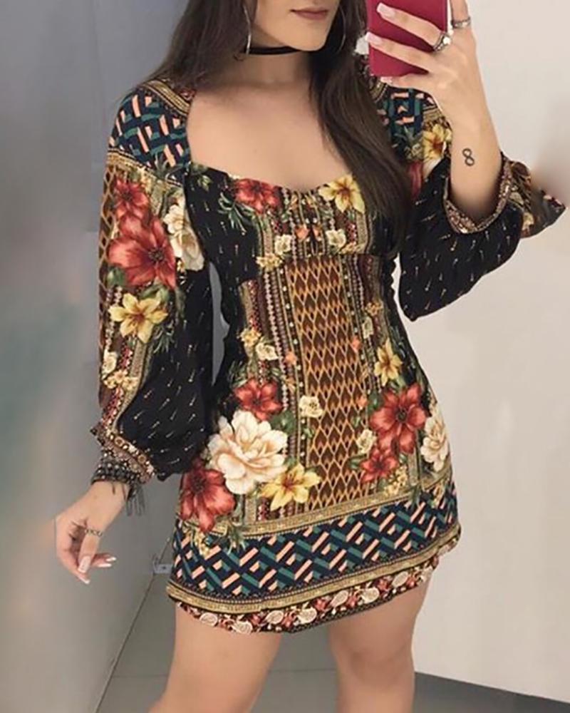 chicme / Vestido informal de manga de linterna estampado floral