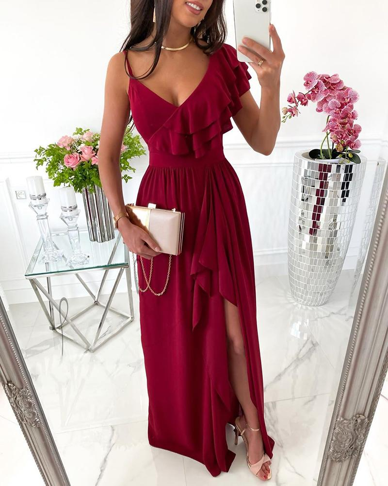 boutiquefeel / Plunge High Slit Ruffles Wrap Dress