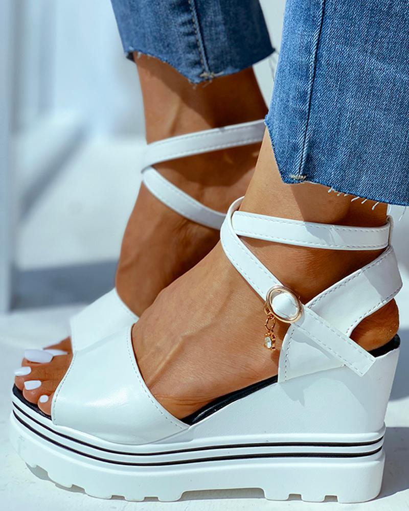 Peep Toe Solid Wedge Heeled Sandals фото