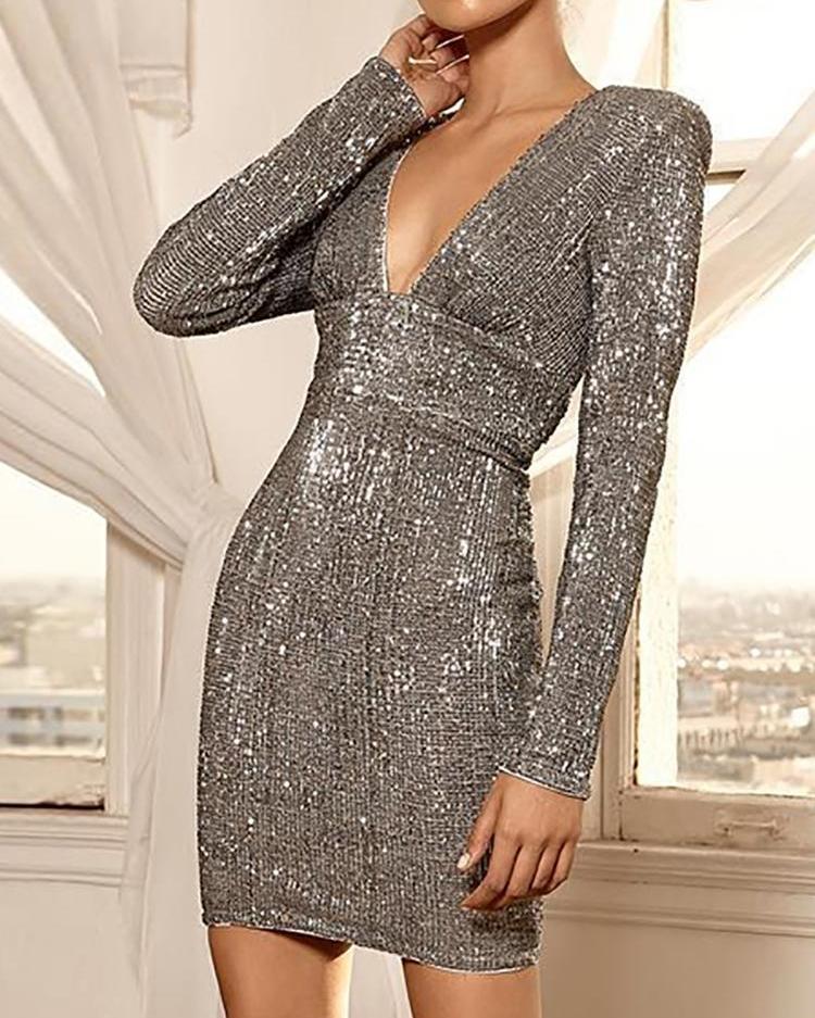 Glitter Deep V Open Back Party Dress фото