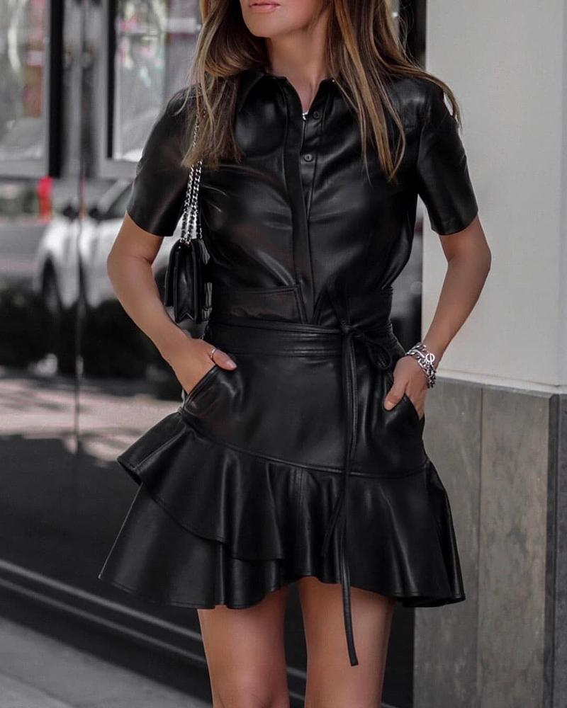 Solid PU Button Design Top & Ruffles Skirt Sets фото