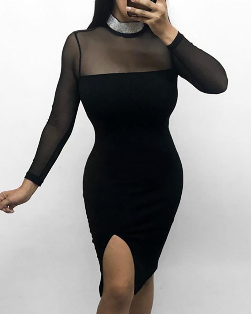 Glitter Neck Mesh Insert Slit Bodycon Dress, Black
