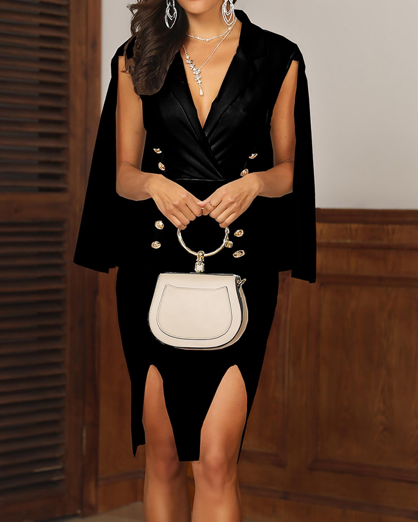 chicme / Double Breasted Cape Sleeve Slit Blazer Dress