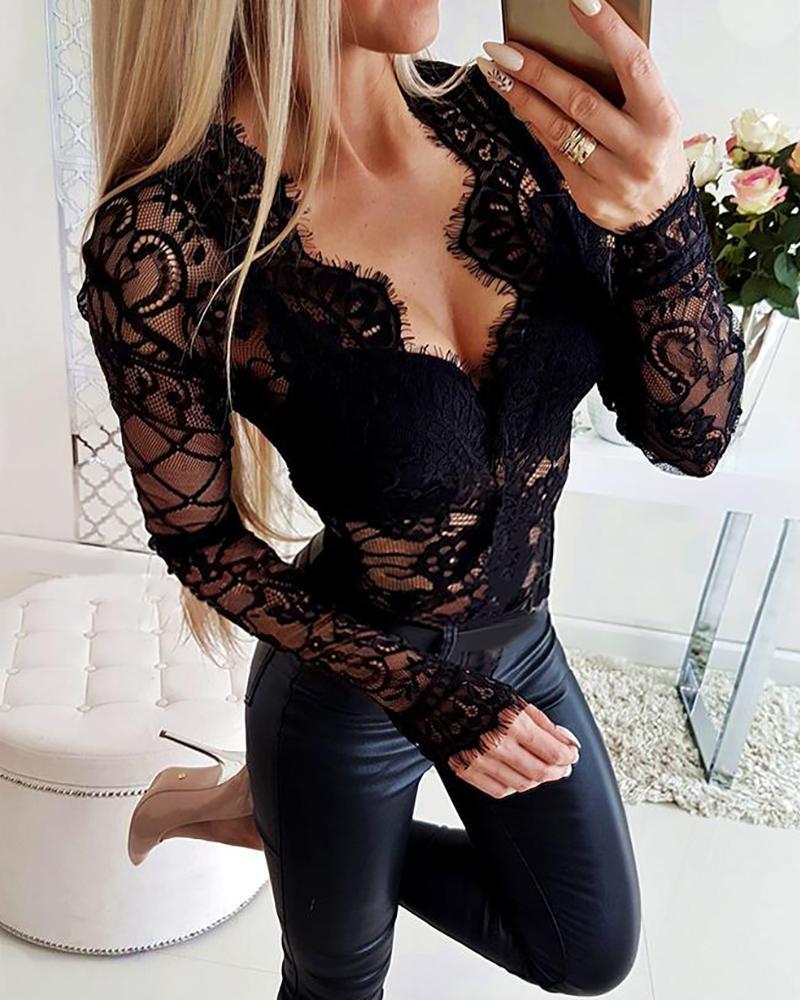 Sheer Eyelash Lace Long Sleeve Bodysuit фото