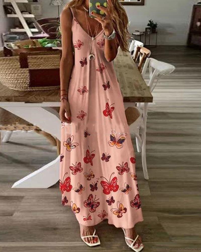 Butterfly Print Cami Maxi Dress фото