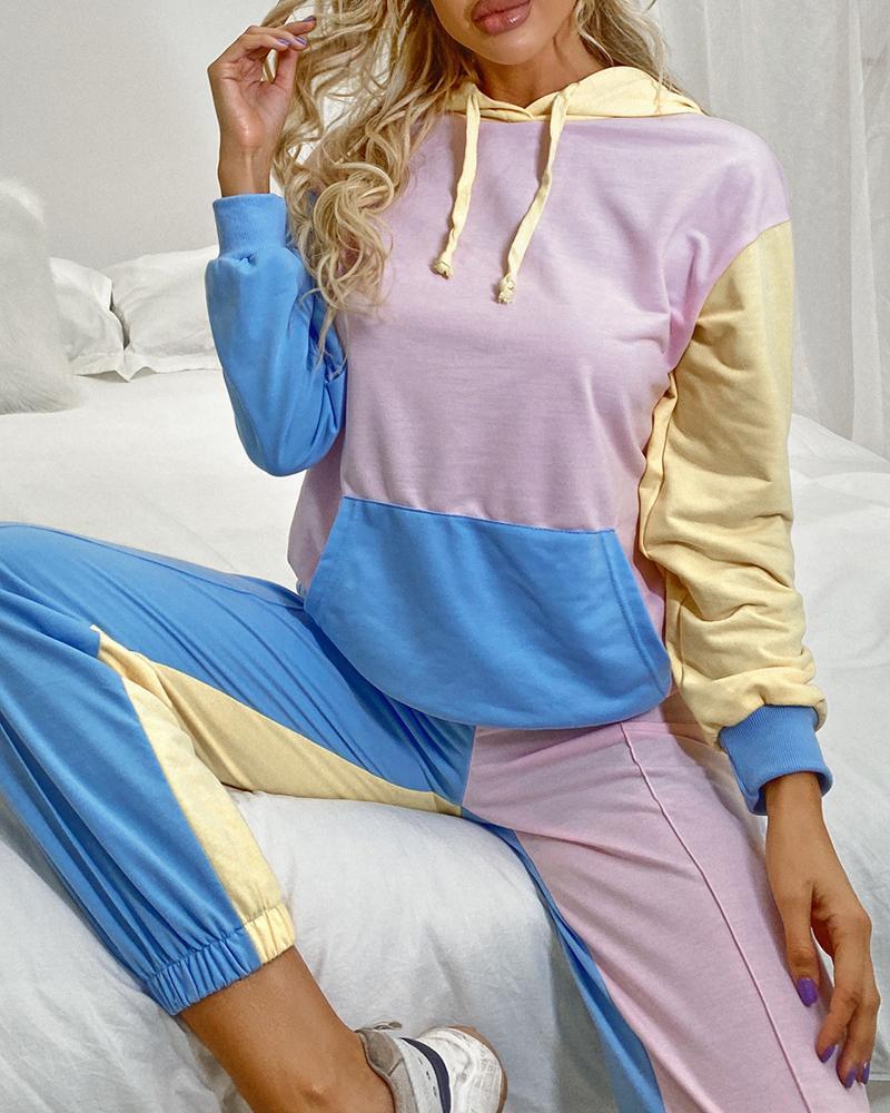 Colorblock Pocket Design Hooded Top & Pants Set фото