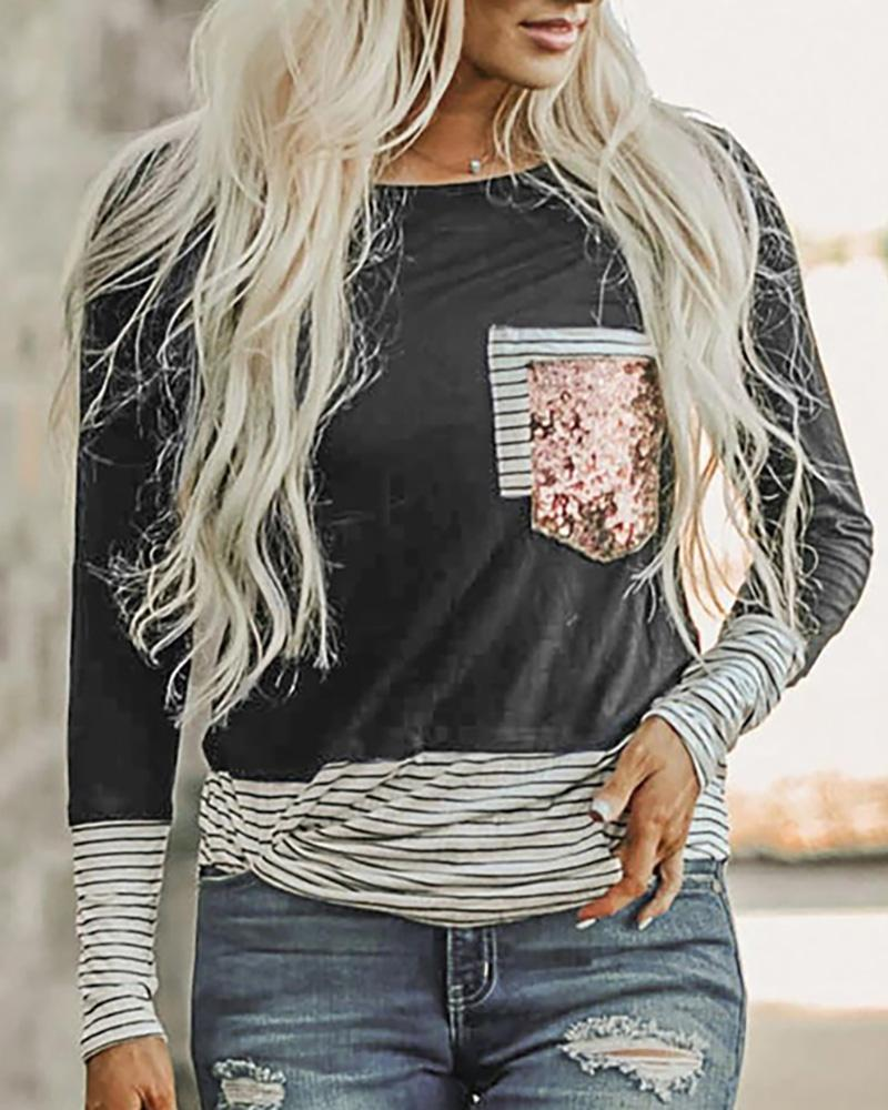Sequins Striped Colorblock Casual Top фото
