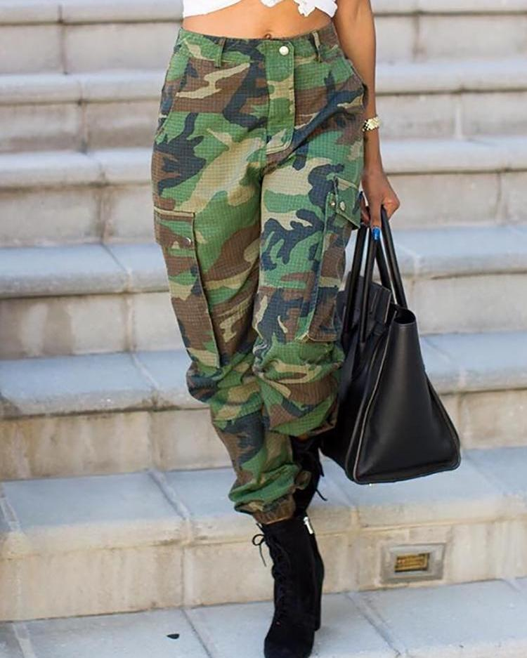chicme / Camo Pint Pocket Casual Pants