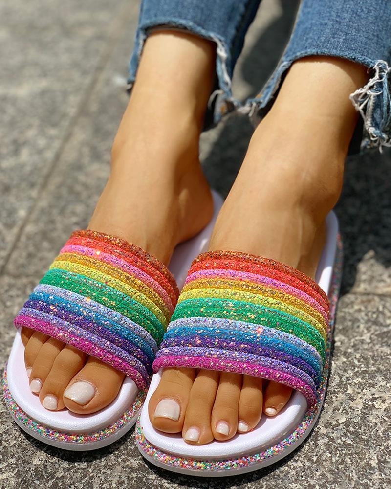 Colorful Rainbow Sequins Flat Sandals фото