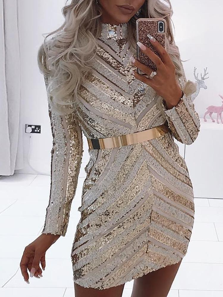 Chevron Stripes Bodycon Mini Sequin Party Dress