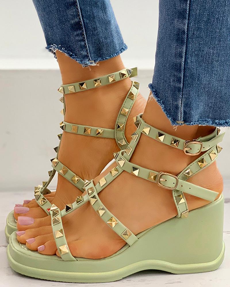 Rivet Design Platform Wedge Sandals фото