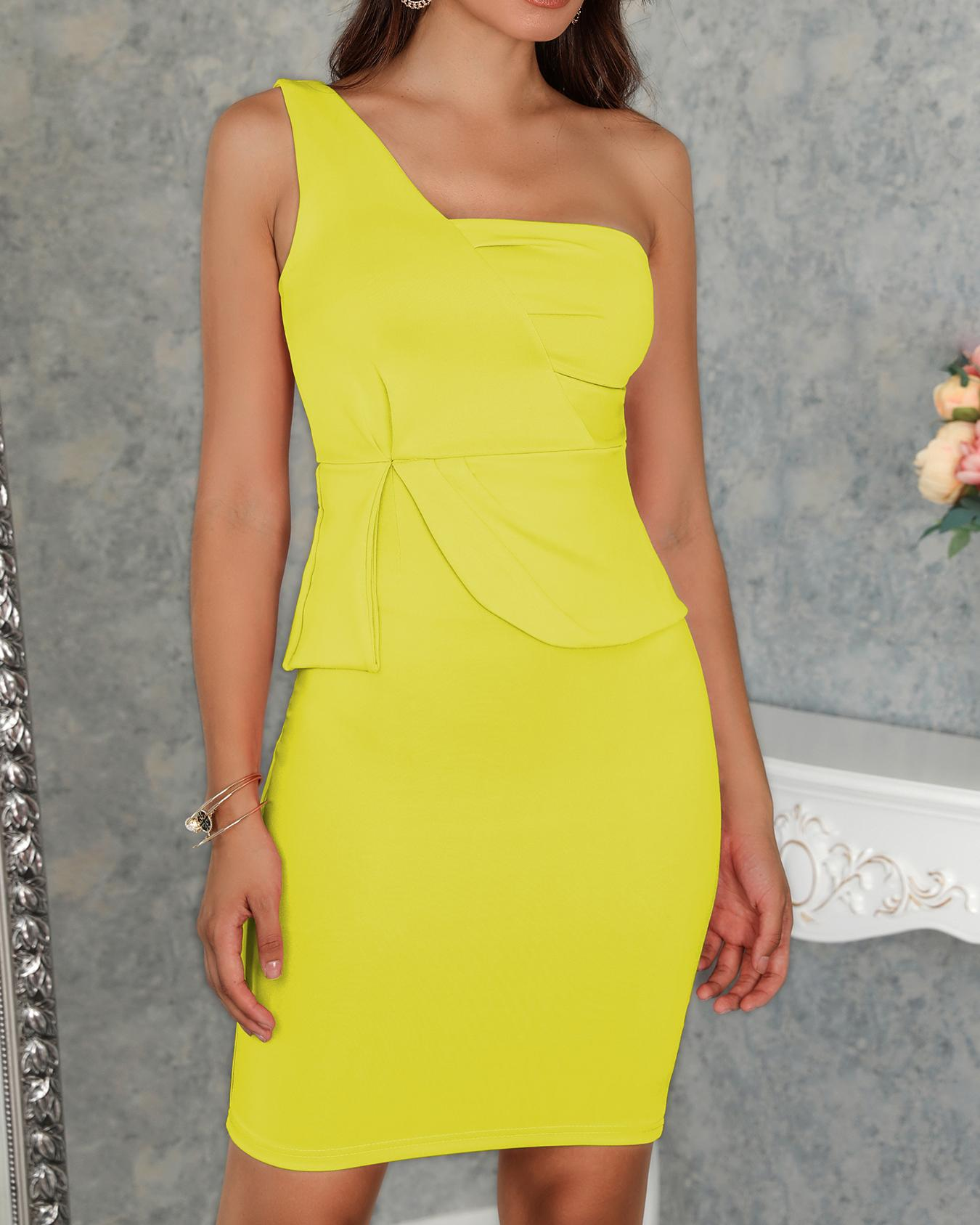 Solid Color One Shoulder Ruched Bodycon Dress фото