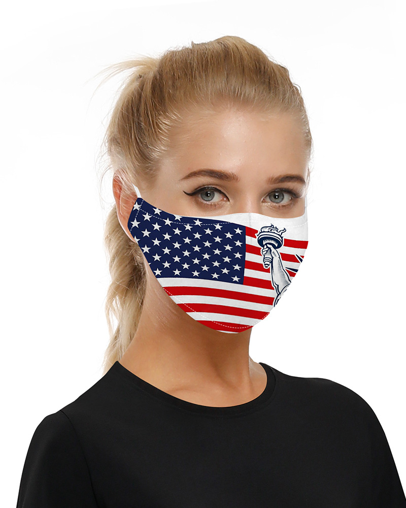 Flag Print Mouth Mask Breathable Washable And Reusable With Replaceable Filter фото