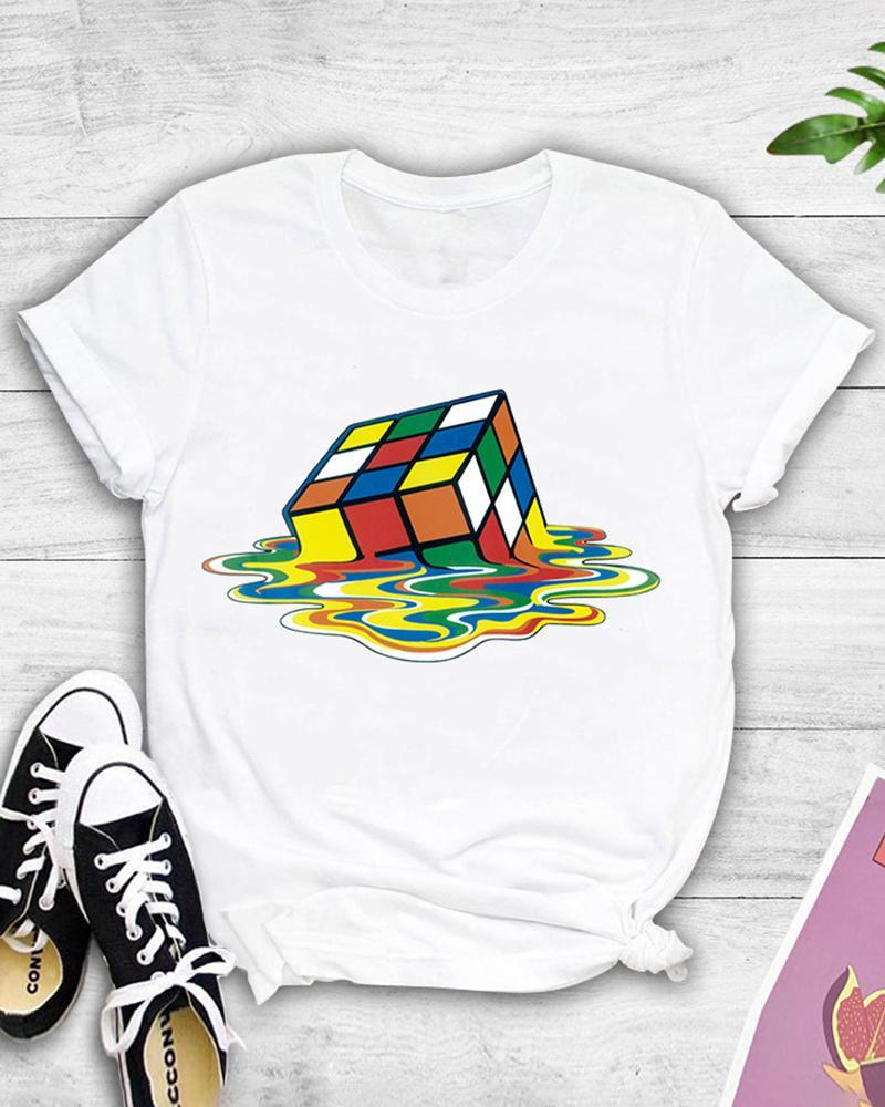 Cube Print Short Sleeve Casual T-shirt фото