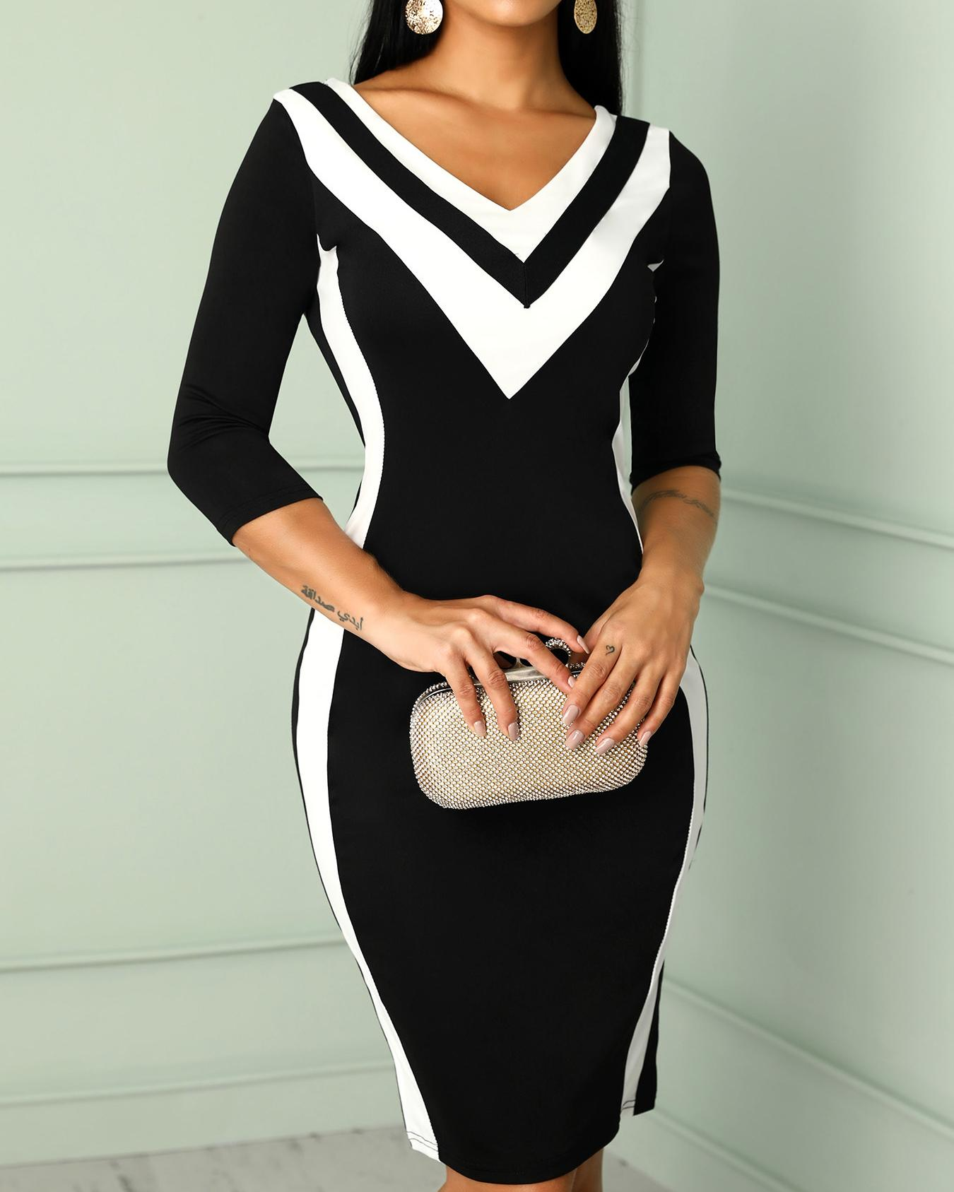Contrast Color Striped Tape Bodycon Dress фото