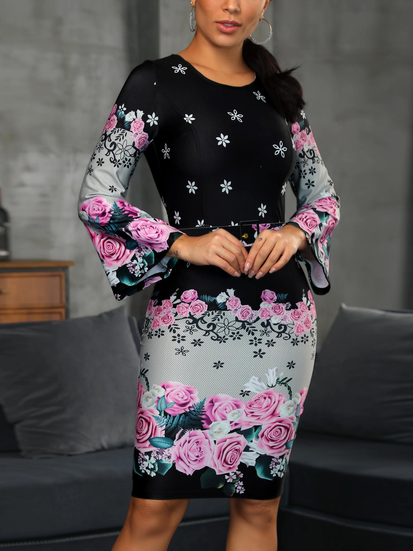boutiquefeel / Floral Print Bell Sleeve Bodycon Dress