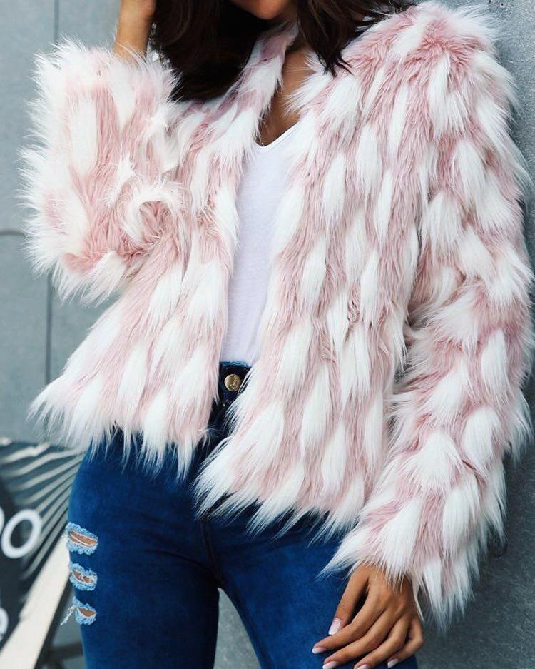 boutiquefeel / Color Block Open Front Fluffy Faux Fur Coat