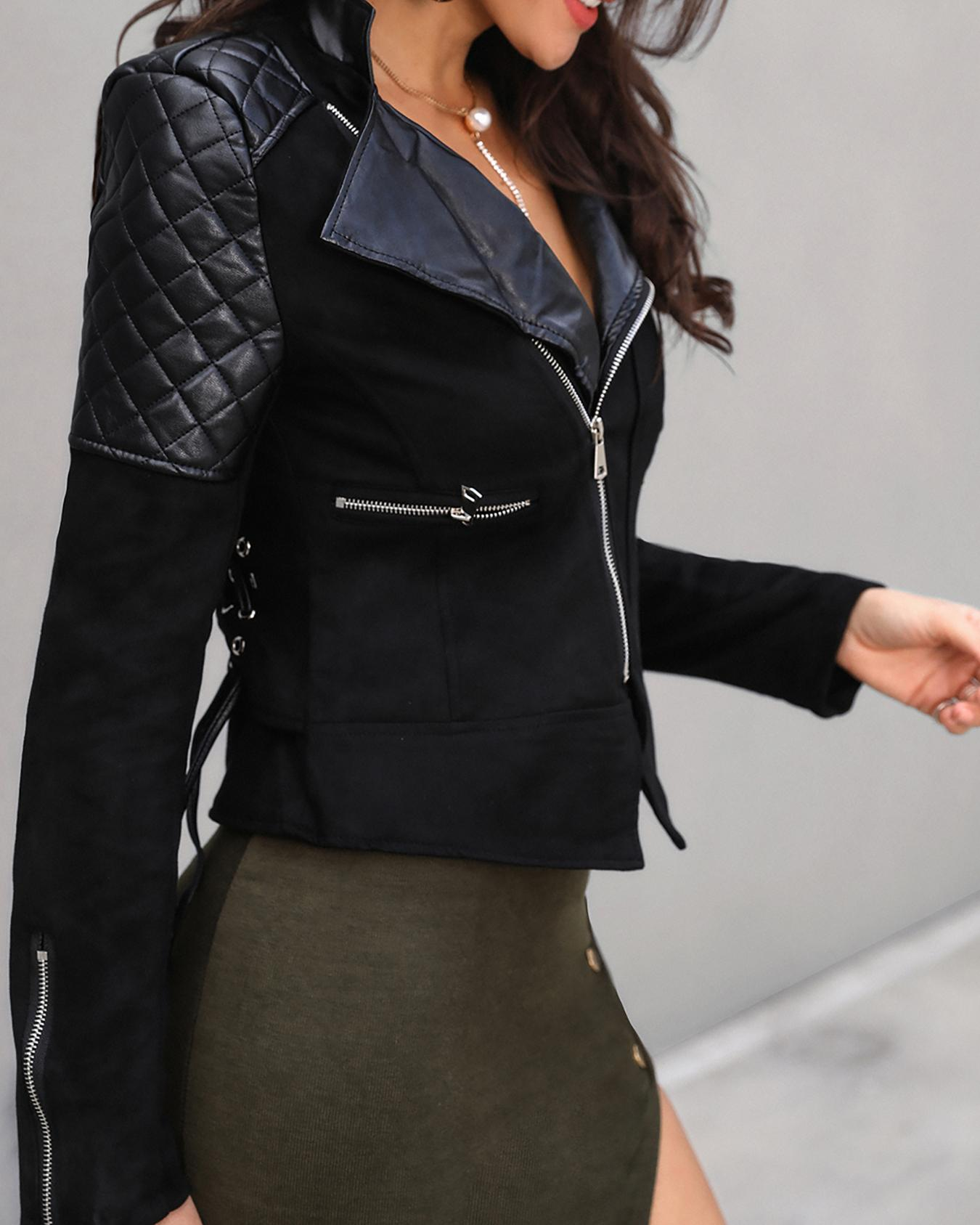 Metallic Zipper Design Lace Up Jacket фото