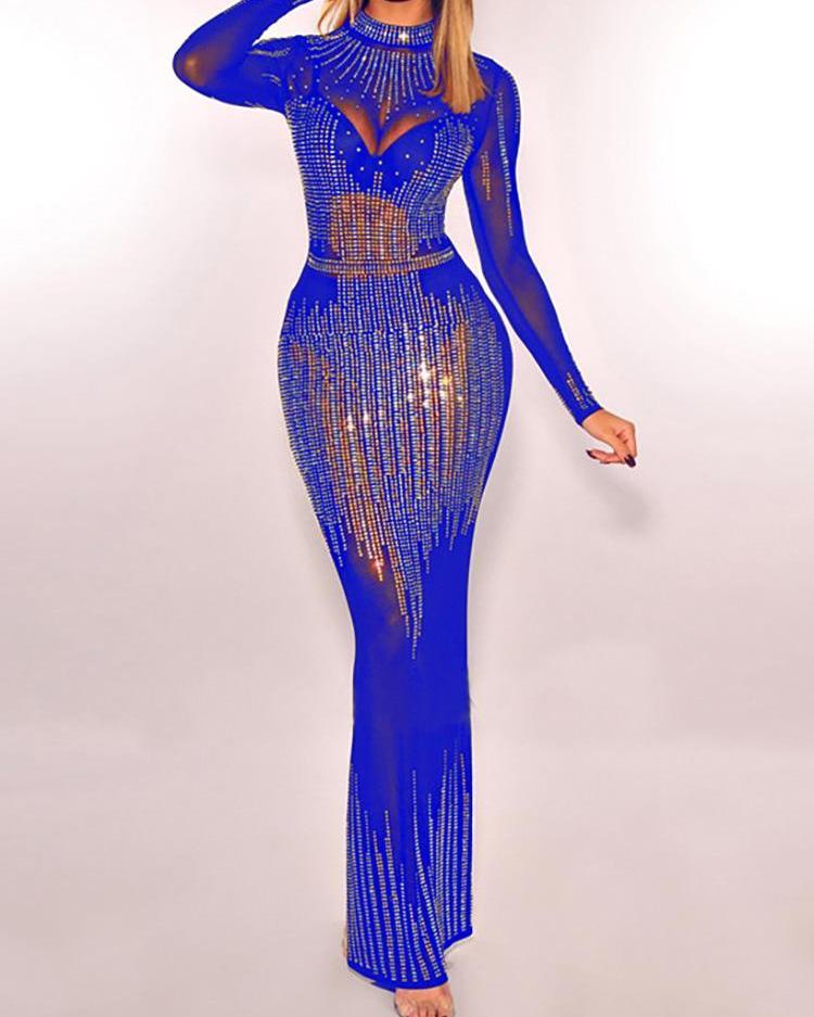 Hot Stamping Sheer Mesh Evening Dress
