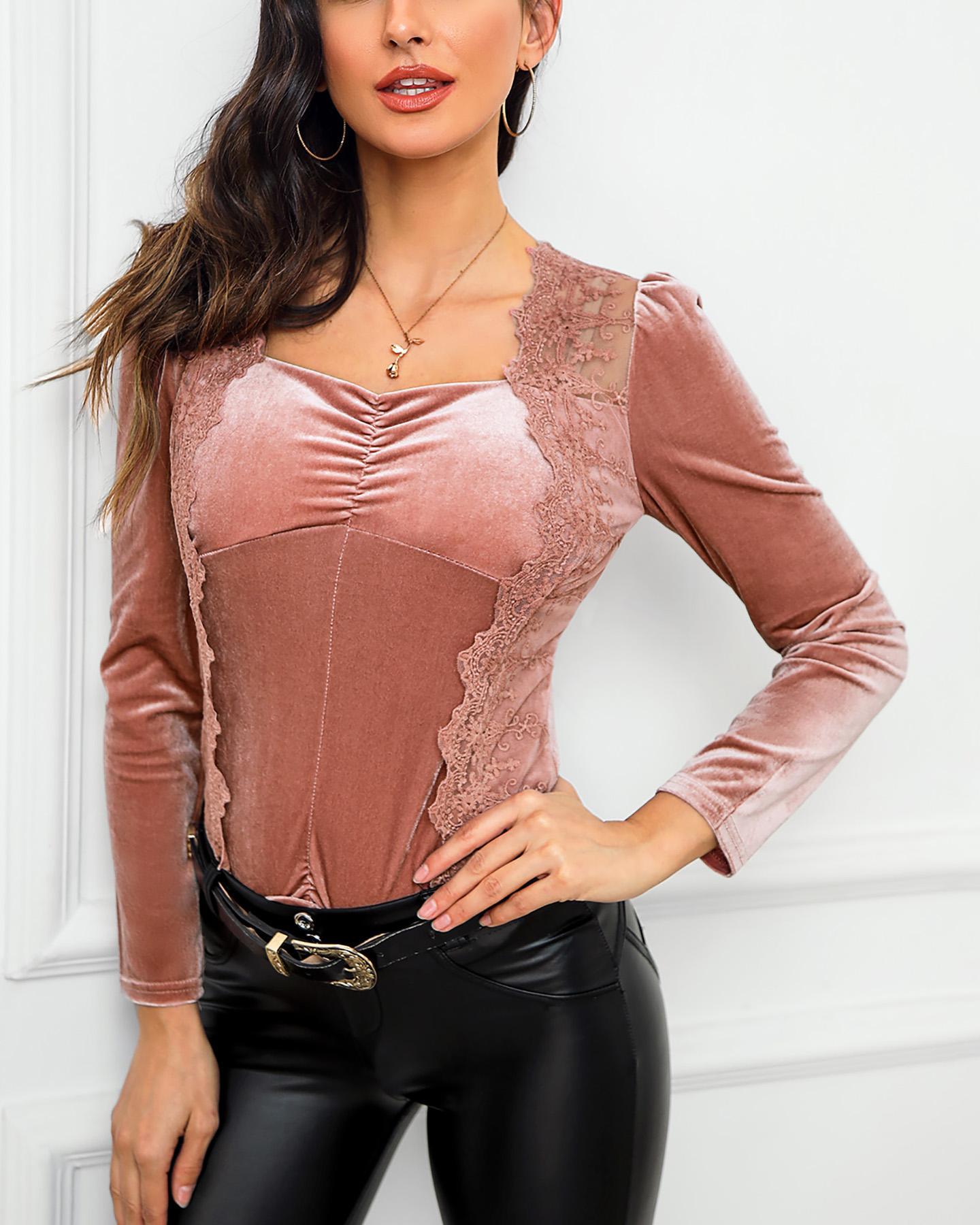 boutiquefeel / Blusa de veludo com franjas