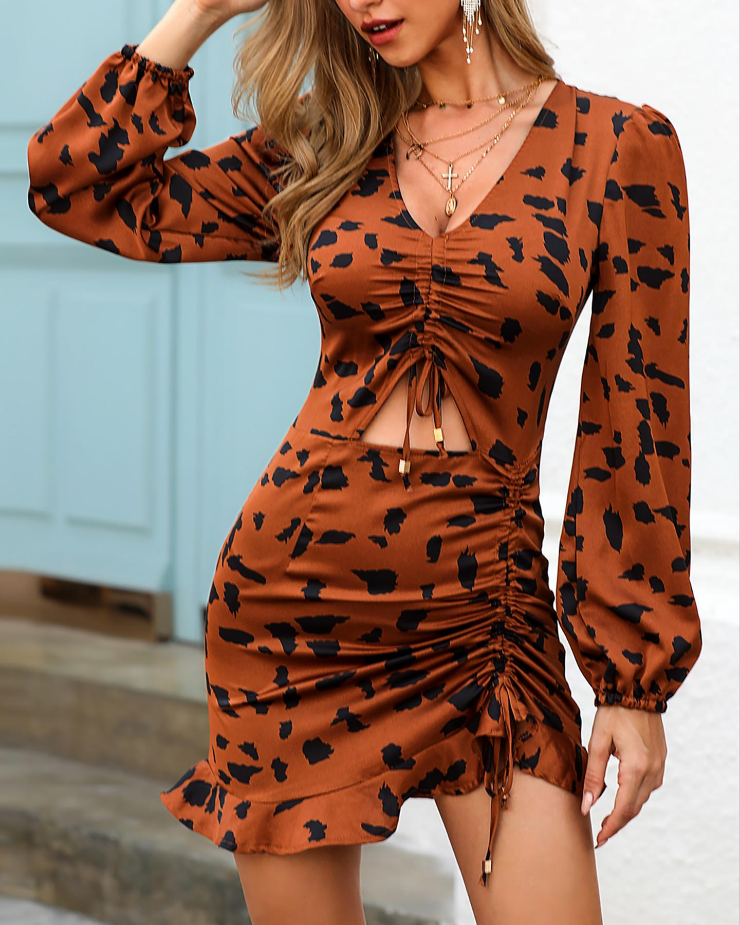 Leopard Drawstring Design Ruffles Dress фото