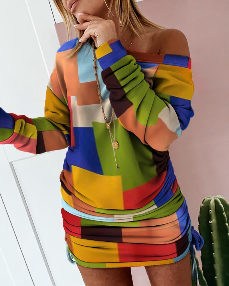 Colorblock Drawstring Ruched Sweatshirt Dress фото