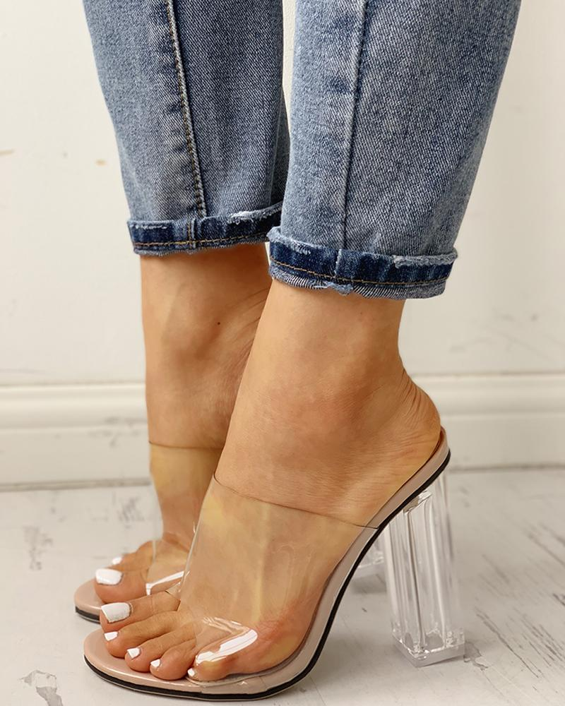 Open Toe Transparent Chunky Heeled Sandals