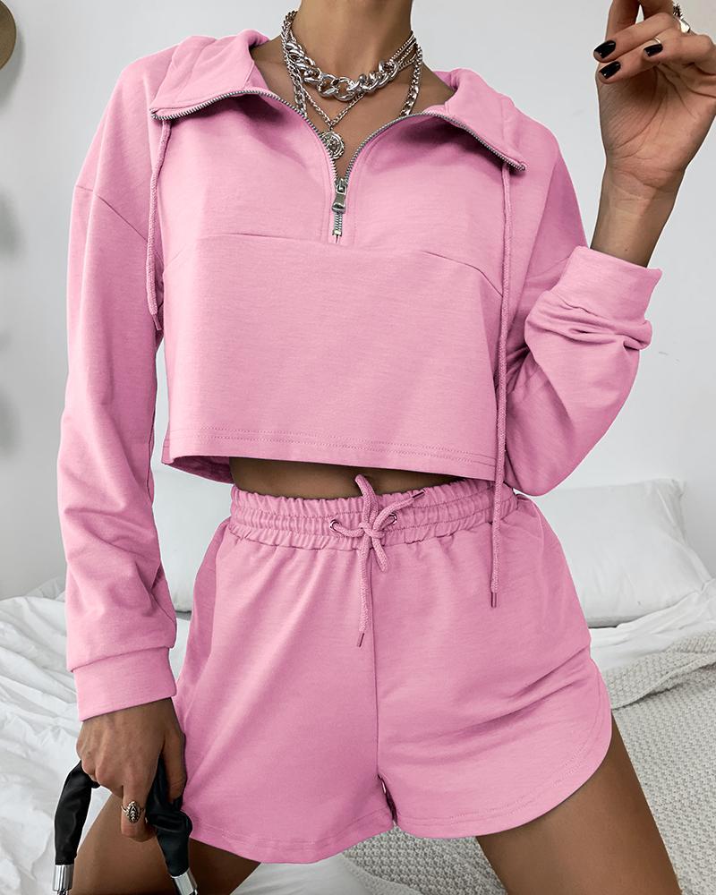 Long Sleeve Zipper Design Top & Drawstring Shorts Set фото