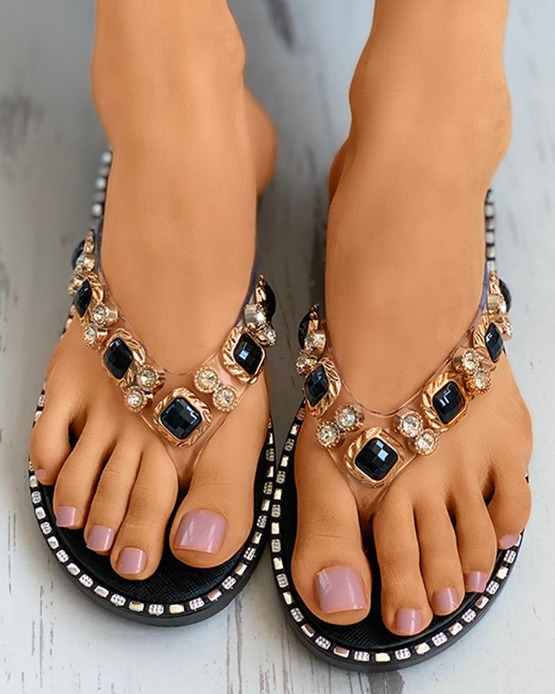 Rhinestone Toe Post Flat Sandals фото