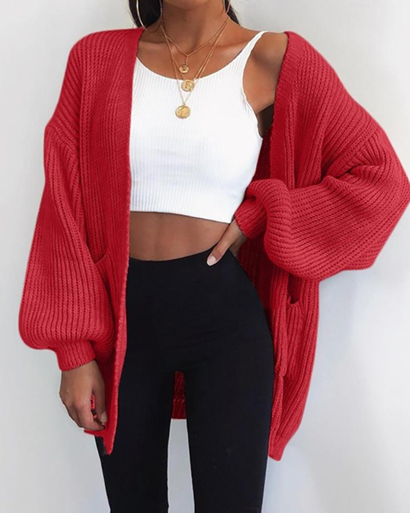 Brief Solid Weave Knitted Cardigan фото