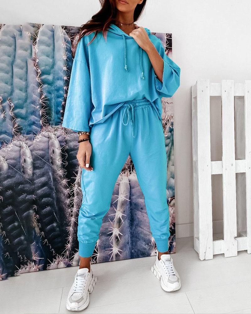 Hooded Casual Top & Drawstring Pants Set фото