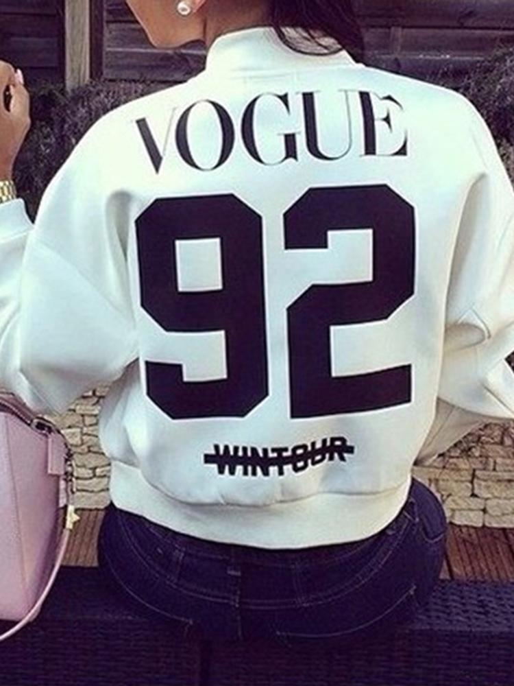Autumn Fashion Hip-Hop Number Print Baseball Jacket Long Sleeve Crewneck Zipper Closure Short Coat