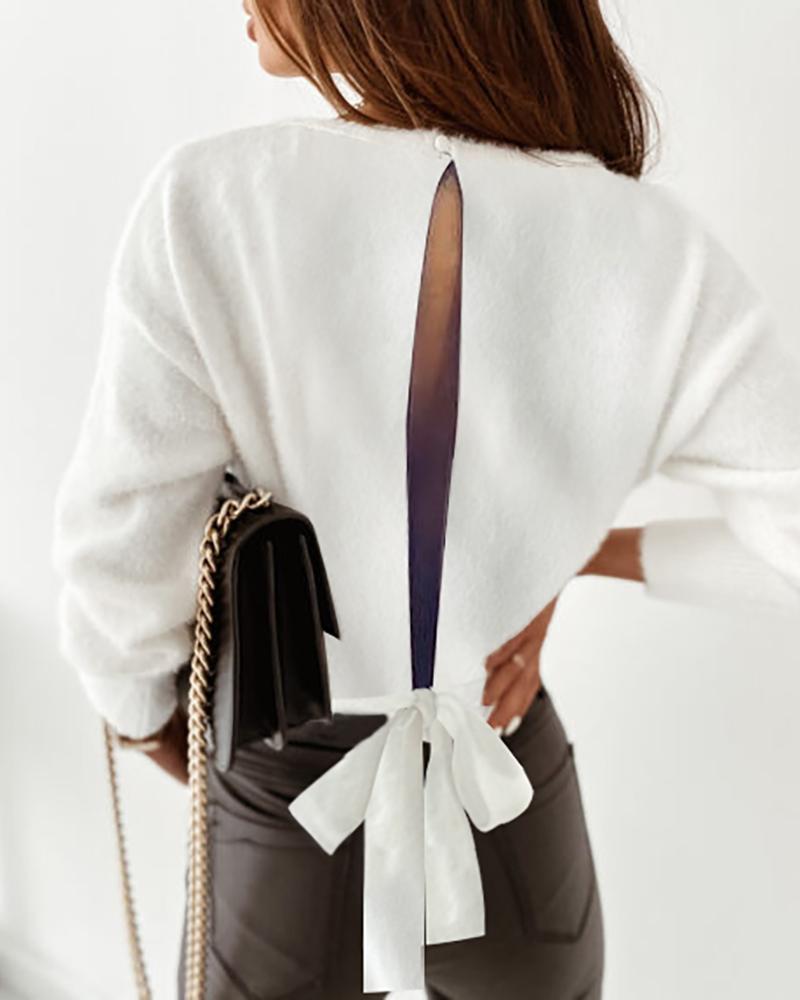 Fluffy Plain Cutout Back Tie Detail Sweater