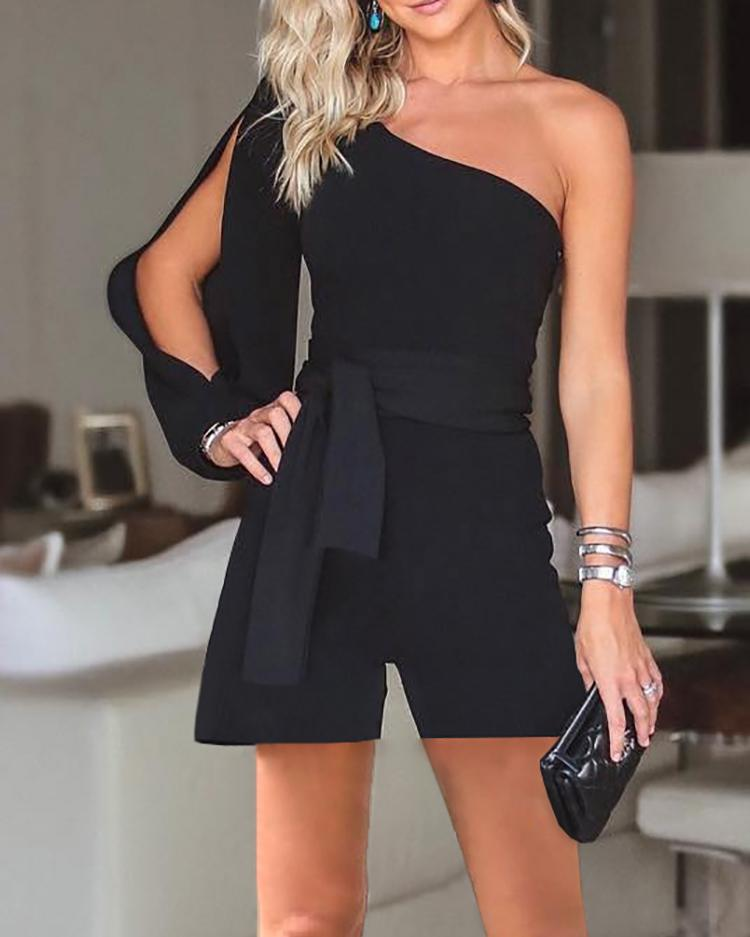 Stylish One Shoulder Slit Sleeve Black Romper