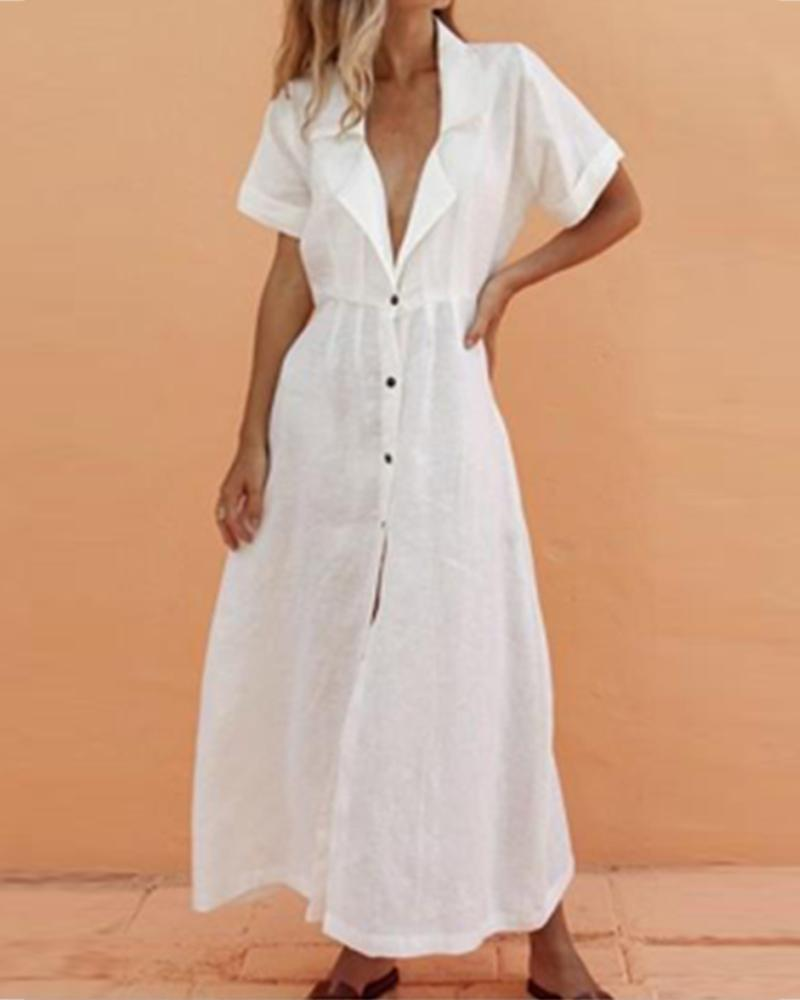 chicme / V-Neck Solid Lapel Short Sleeve Maxi Dress