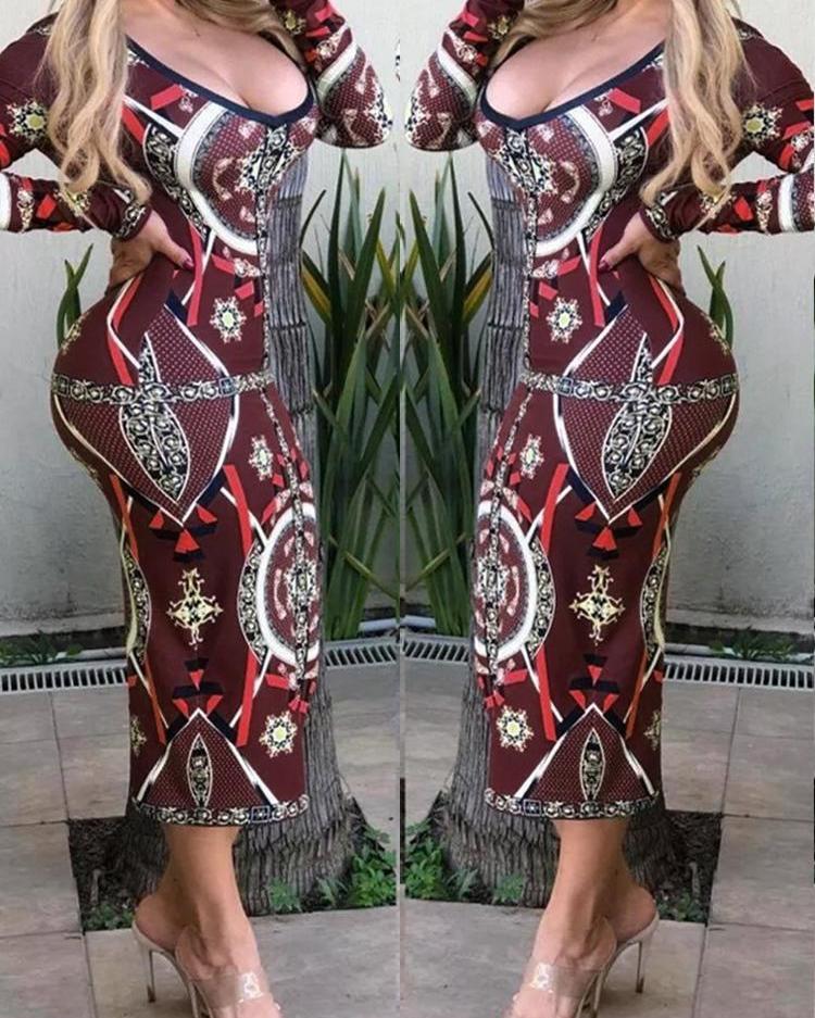 chicme / Vestido de manga larga con estampado geográfico de Colorblock