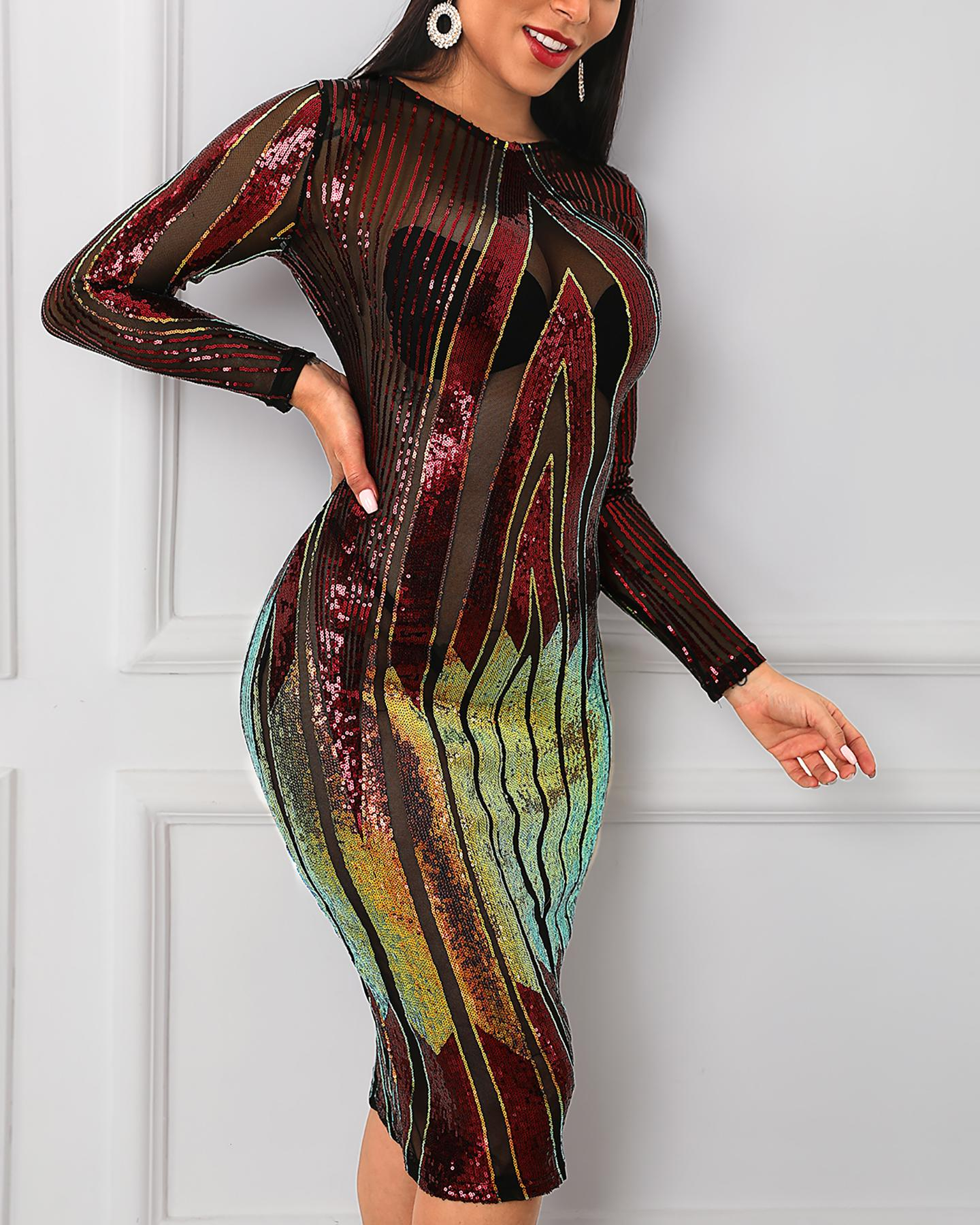 chicme / Sequins See Through Bodycon Dress